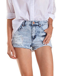 Charlotte russe destroyed acid wash denim shorts medium 269868