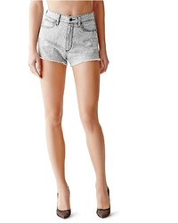 GUESS High Rise Cutoff Denim Shorts In Vinyl Wash