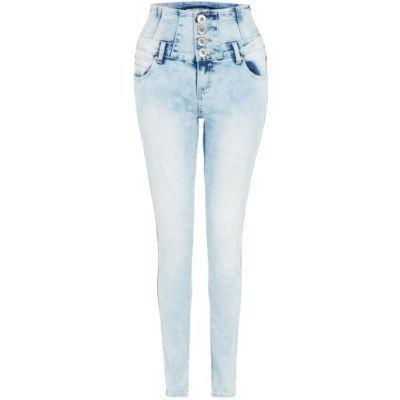 light denim high waisted skinny jeans - Jean Yu Beauty