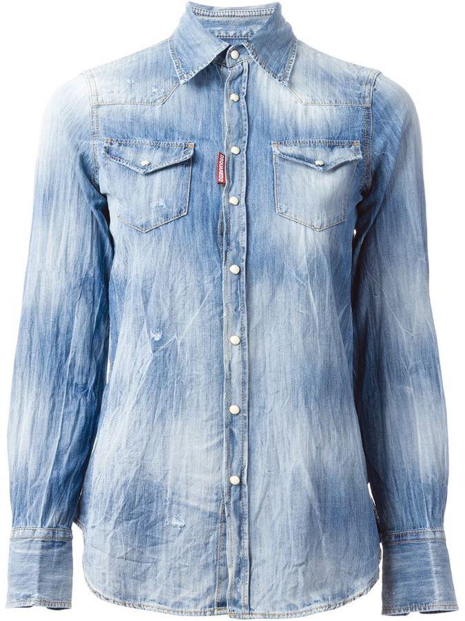 d50f5b15d6 ... Dsquared2 Distressed Denim Shirt