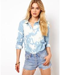 Vila Tye Dye Denim Shirt Blue
