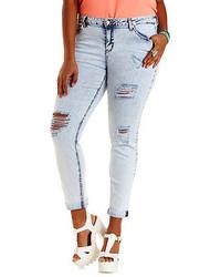 Charlotte Russe Plus Size Refuge Boyfriend Acid Wash Jeans