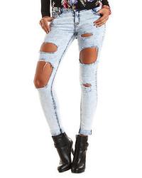 Charlotte Russe Refuge Boyfriend Acid Wash Destroyed Jeans
