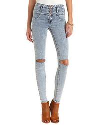 Charlotte Russe Refuge Hi Waist Super Skinny Acid Wash Jeans