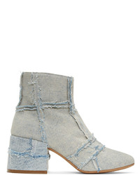 MM6 MAISON MARGIELA Blue Denim Cube Boots