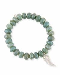 Sydney Evan 10mm Blue Silverite Beaded Bracelet With Diamond Wing Charm
