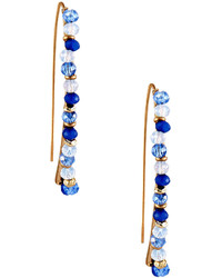 Lydell NYC Beaded Delicate Linear Drop Earrings Blue