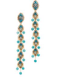 Miguel Ases Beaded Linear Drop Earrings