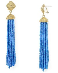 Aqua Leslie Tassel Drop Earrings 100%