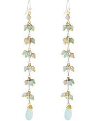 Long beaded crystal dangle earrings blue medium 3717462