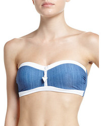 Seafolly Block Party Bandeau Bustier Swim Top Denim