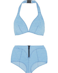 Lisa Marie Fernandez Davina Stretch Denim Halterneck Bikini Light Denim