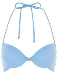Topshop Frill Plunge Bikini Top