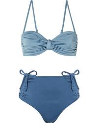 Leslie Amon Thea Ruched Two Tone Bandeau Bikini