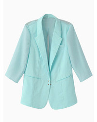 Choies Baby Blue Lapel Half Sleeve Blazer With Organza Backside