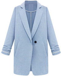 Choies Blue Lapel Single Button Longline Blazer