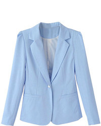 Choies Blue Lapel Single Button Slim Blazer
