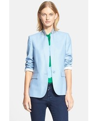 Womenu0027s Fashion u203a Blazers u203a Light Blue Blazers Stella McCartney Contrast  Collar Wool Jacket Stella McCartney Contrast Collar Wool Jacket ...