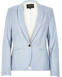 ... River Island Light Blue Long Sleeve Fitted Tailored Blazer