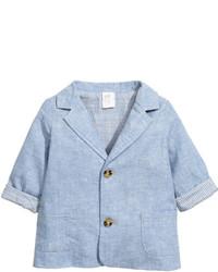 H&M Linen Blend Blazer Light Blue Melange Kids