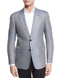 Armani Collezioni Neat Two Button Sport Coat Light Bluewhite