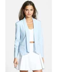 Women's Light Blue Blazer, White and Black Horizontal Striped Long ...