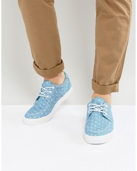 Asos Boat Shoes In Blue Chambray With Anchor Print