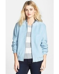 How to Wear a Light Blue Bomber Jacket (6 looks) | Women's Fashion
