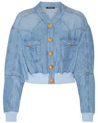 Cropped chambray bomber jacket light denim medium 3660254