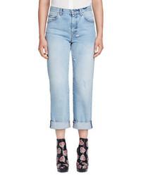 Alexander McQueen Cuffed Denim Boyfriend Jeans Light Denim