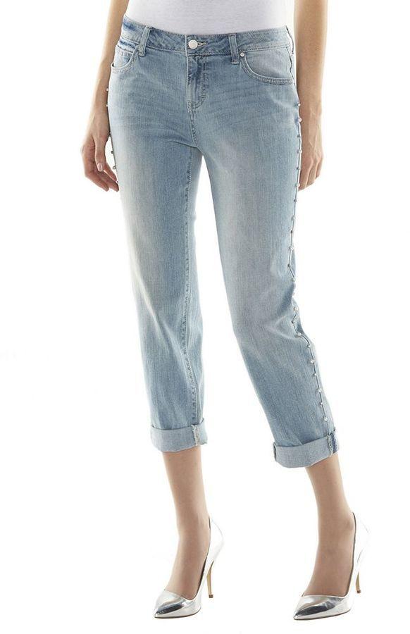 JLO by Jennifer Lopez Jennifer Lopez Embellished Boyfriend Jeans ...