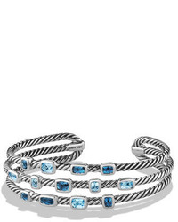 David Yurman Confetti Narrow Cuff Bracelet With Blue Topaz And Hampton Blue Topaz