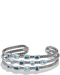 David Yurman Confetti Narrow Cuff Bracelet With Blue Topaz And Hampton Blue Topaz