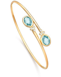 Kiki McDonough Eternal Blue Topaz Diamond Bypass Bangle Bracelet
