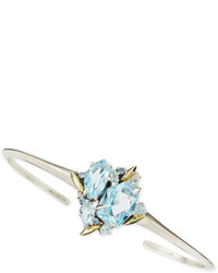 Alexis Bittar Fine Thin Cuff With Blue Topaz Sapphire Diamonds
