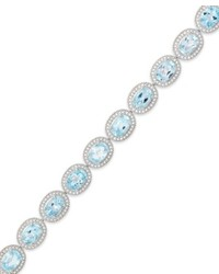 Macy's Sterling Silver Blue Topaz And Diamond Accent Bracelet