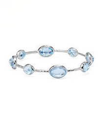 Ippolita Sterling Silver Rock Candy 8 Stone Bangle Blue Topaz