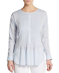 Theory Pintuck Pleated Cotton Top