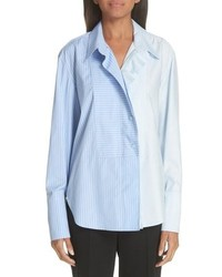 Stella McCartney Two Tone Zip Front Poplin Shirt