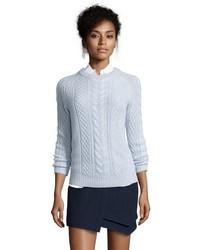 Hayden Blush Cable Knit Cashmere Crewneck Sweater