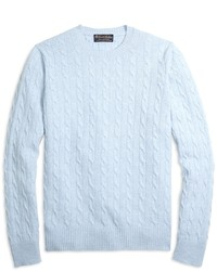 c2bb54c5254 Light Blue Cable Sweaters for Men | Men's Fashion | Lookastic.com