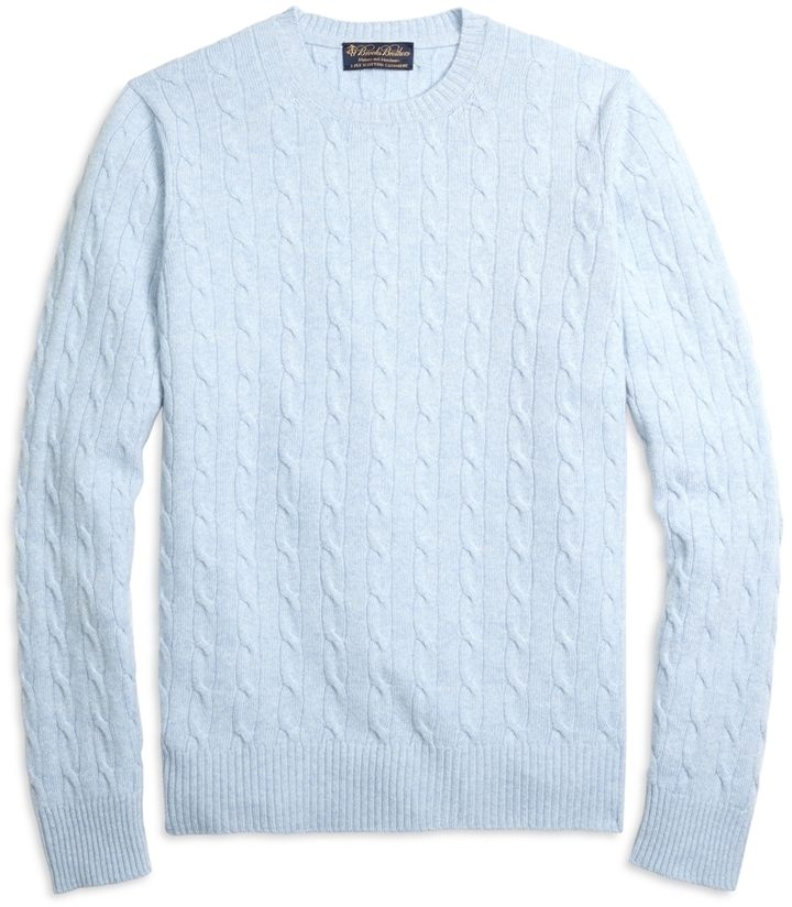 Brooks Brothers Cashmere Cable Crewneck Sweater   Where to buy ...