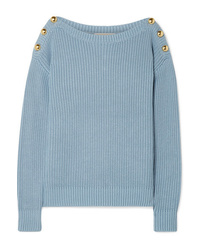 MICHAEL Michael Kors Embellished Ribbed Cotton Blend Sweater