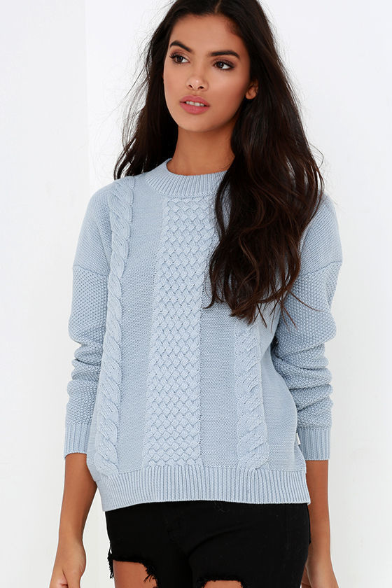 rhythm Fleetwood Light Blue Cable Knit Sweater   Where to buy ...