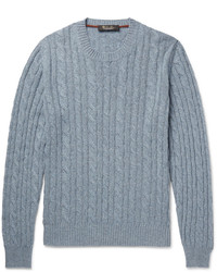 Light Blue Cable Sweaters for Men | Lookastic