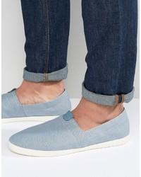 Light Blue Canvas Slip-on Sneakers