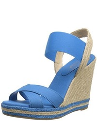 Light Blue Canvas Wedge Sandals