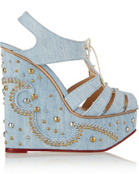 Charlotte Olympia Gene Studded Denim Wedges