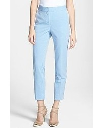 St. John Yellow Label Emma Stretch Seersucker Capri Pants Blue White Size 8 8