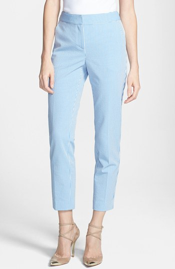 St. John Yellow Label Emma Stretch Seersucker Capri Pants Blue ...